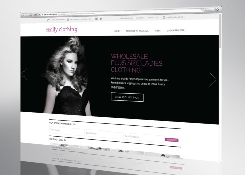 emily clothing website front page