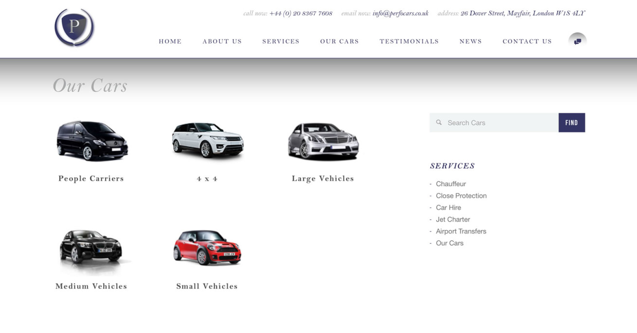 perfocars website development