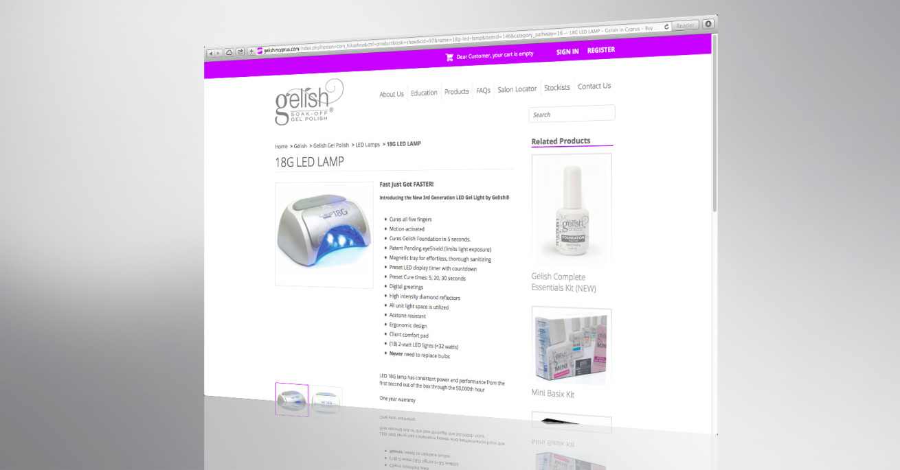 Gelish website front page