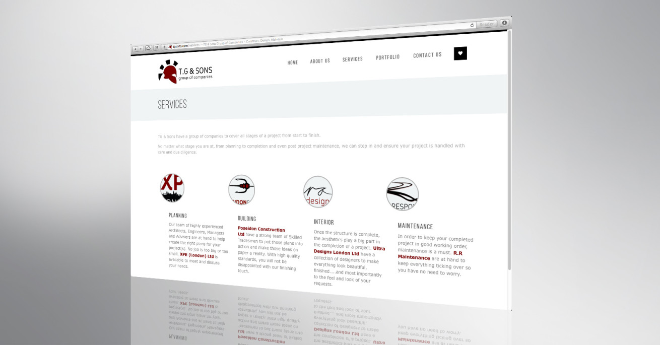 TG & Sons website front page